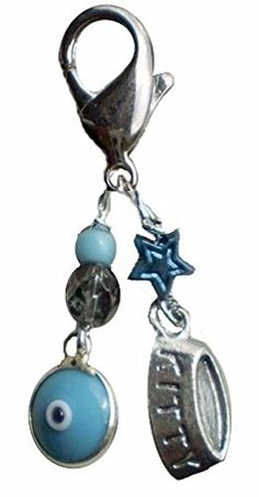 Cat Collar Charm with a Silverplated Blue Evil Eye Luck Charm and Cat Dish Charm ** Hurry! Check out this great product : Cat accessories