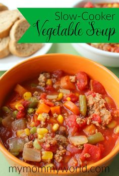 Making soups in a crock pot is an easy way to get a healthy dinner on the table in a hurry. This recipe for slow cooker vegetable soup is not only an easy meal to put together, but it is hearty and tasty too, perfect for a busy weeknight dinner or after a day of watching football or even for a potluck.