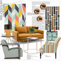 Mid century modern inspiration... by gloriettequartet on Polyvore featuring interior, interiors, interior design, home, home decor, interior decorating, Knoll, Pier 1 Imports, Puji and Bloomingville