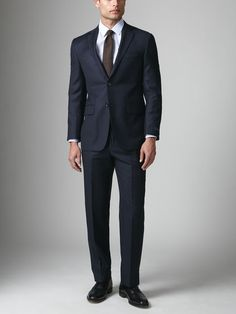 Wool Double Dotted Pinstripe Suit