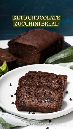 Sugar Free Zucchini Bread, Chocolate Zucchini Bread, Low Carb Desserts, Healthy Desserts, Low Carb Recipes, Ketogenic Desserts, Keto Foods, Make Almond Flour, Usda Food