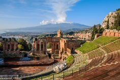 Ancient Greek theatre, Taormina,  Sicily.