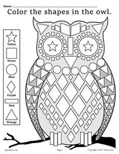 Help your students become familiar with common shapes while learning color recognition and fine motor skills with this fall shapes worksheet! Shapes included are a square, circle, diamond,. Owls Kindergarten, Kindergarten Coloring Pages, Shape Coloring Pages, Fall Coloring Pages, Preschool Printables, Preschool Worksheets, Owl Preschool, Shapes Worksheet Kindergarten, Owl Activities