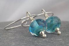Colorful hoop earrings  beautiful glass by AmySquaredJewellery