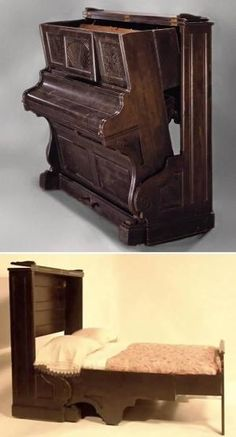 I absolutely love this Piano Murphy Bed!!! This would allow me to hide a guest bed in the living room or music room! by graciela