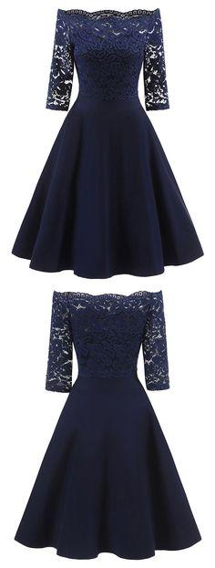 Half Sleeve Lace Burgundy/Navy Short Satin Homecoming Dress, Elegant Prom Dresses - Another! Elegant Prom Dresses, Grad Dresses, Ball Gown Dresses, Pretty Dresses, Beautiful Dresses, Short Dresses, Wedding Dresses, Dresses Dresses, Black Lace Dresses
