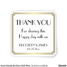 Great Gatsby Art Deco Gold Wedding Stickers