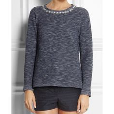 "J. Crew Marled Jeweled Sweatshirt his one features hand-applied jewels around the neckline and a supersoft heathery terry fabric. Like new! Cotton. Hand wash. Slightly loose fit.  Body length: 24 3/4"".  NO Trades. Please make all offers through offer button. J. Crew Sweaters"