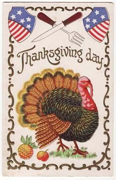 Vintage Post Card Patriotic Thanksgiving Turkey 1908