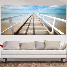 Παραλία με κουπαστή πίνακας σε καμβά
