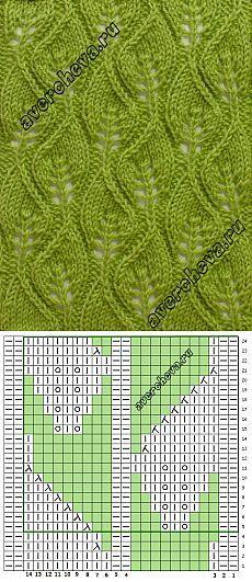 узор 588 «ажурные листики» | каталог вязаных спицами узоров | Вязание на спицах | Постила