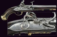 A flintlock pistol by P. Fiorenti, Italy 18th century.