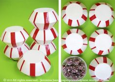 peppermint favor boxes - two Styrofoam bowls and red electric tape
