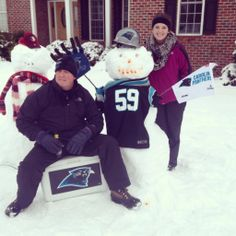 This Panthers snowman is enjoying a Winter tailgate.