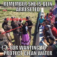 """Photos Show Why The North Dakota Pipeline Is Problematic. """"A protester is arrested for standing on the outer layer of barricades that separate the protest site from the police line and construction zone on Monday morning. Native American History, American Indians, American Women, Bernie Sanders, Banks, Dakota Pipeline, Affirmations, My Heritage, North Dakota"""