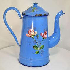 French Enamelware Blue Floral Graniteware Coffee Pot Cafetiere 1900s
