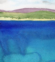 Looking Across St. Ive's Bay. Watercolour.