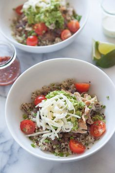 Quinoa Burrito Bowls--cooked the quinoa with 1/2 veggie broth and 1/2 water; used shredded chicken from crockpot tacos