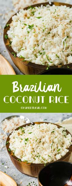 Brazilian Coconut Rice – Oh Sweet Basil Coconut rice Brazilian style! We have the secret for perfect rice, and it all starts in the saute pan. This Brazilian coconut rice is the best side dish! Rice Side Dishes, Best Side Dishes, Side Dish Recipes, Dinner Recipes, Vegetarian Recipes, Cooking Recipes, Healthy Recipes, Rice Recipes, Brazilian Dishes