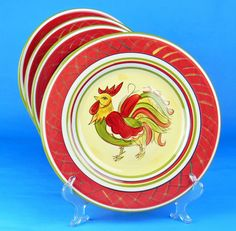Dinner Plate/s SUPERB+ Condition! Rooster by HD Designs Hand Painted $11.95  sc 1 st  Pinterest & 2 Taylor Smith Taylor Rooster Dinner Plates Dishes 10\