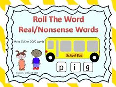 Students will love putting together words as they roll the dice and place on the windows of these adorable school buses. They can make CVC or CCVC words. This activity also comes with some kid friendly lined paper to record their real and nonsense words that they make. #DIBELS #literacy