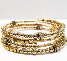 Gold wire wrap bracelet.