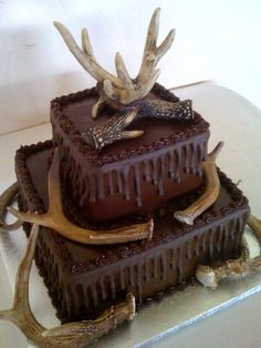 Grooms Cake. Deer Horns 2 tier