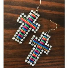 Serape Rhinestone Cross Earrings