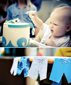 Board shorts as bunting - great for any age beach-themed party - totally doable! Totally Cool Backyard Beach Bash {First Birthday}