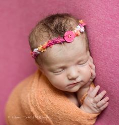 Newborn Headband Halo Style Pink Yellow Orange by rowanstreehouse, $7.50