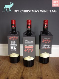 FREE DIY WINE BOTTLE TAGS Print and Cut its that easy. Esp useful if you dont have a gift bag!  - Download Wine Bottle Tags