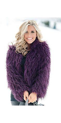 Plum Mongolian Lamb Faux Fur Fashionista Jacket | Fabulous-Furs