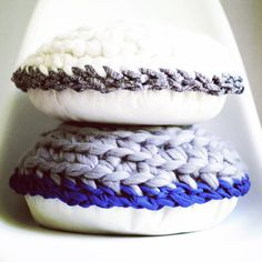 """So happy to present my handmade wares now selling on my etsy store! These little clouds of joy are what are called """"Pie Pillows"""" made from wool and cotton and reminiscent of a cream puff pie!"""