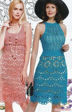 Эти совершенно разнве платья объединяет один очень красивый узор на подоле. Нарядно и очень по летнему! Журнал мод №609 Crochet Shirt, Knit Crochet, Blouse Dress, Knit Dress, Crochet Wedding, Vintage Dress Patterns, Cocktail Gowns, Crochet Stitches Patterns, Crochet Woman