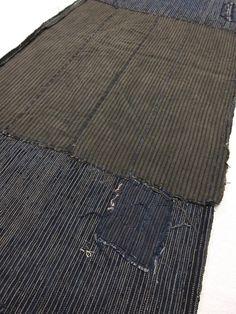 "vintage Japanese indigo boro fabric ""RANRU"" ""SHIMA"" ""AIZOME""  stripe design  Free shipping!  No.17011205"