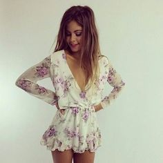 white romper flowers kimono floral summer beach style clothes dress blouse long sleeve floral playsuit flowered print jumpsuit. jumpsuit