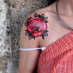 Red Rose Tattoos on Shoulder for Girls