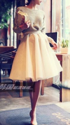 Nude Plain Grenadine Fashion Synthetic Fiber Skirt