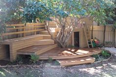 Kids Adventure Playground Garden Design – Treated Pine and Spotted Gum Decking, Climbing Ladder, Sandpit, Tunnel and Cubby House. Outdoor Play Spaces, Kids Outdoor Play, Kids Play Area, Outdoor Learning, Outdoor Fun, Play Areas, Indoor Play, Garden Trampoline, Child Friendly Garden