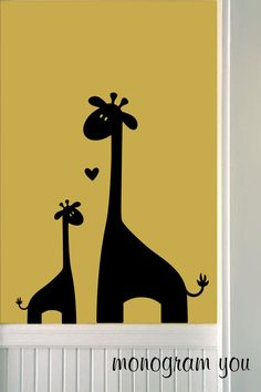 Mom & Baby Giraffe with Heart Vinyl Wall Decals by MonogramYou, $34.95
