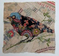 Unframed appliqued bird with embroidery on to vintage crazy quilt scrap by maureen