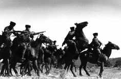 Cavalry of the Cossack Foreign Legion of the German Wehrmacht charge into the battlefield to dismantle the Communist menace and enact total revenge for all the suffering & tyranny the Soviet Bolsheviks had subjected them to for countless years. Soviet Union, 1942.