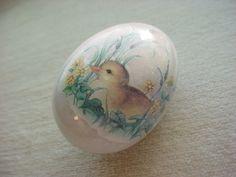 Vintage Natural Stone Egg Granite w Duck Ladybug Flowers 2 inch Seller florasgarden on ebay