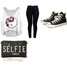 Untitled #4 by dianaden on Polyvore featuring polyvore fashion style Armani Jeans Converse