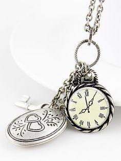 Silver Watch Key Heart Necklace