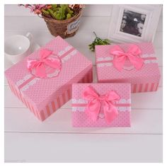 1Set New Cuboid Gift Box Sweet Dots Lace Pattern Ribbon 3 Different sizes Colour:Pink *** Discover this special product, click the image : Display Stands Home Decor