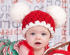 Christmas Baby Hat 6 to 9 Month Baby Santa Hat by TSBPhotoProps
