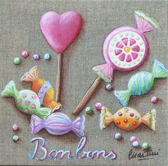 tableau pour enfant, tableau bonbons, tableau macaron