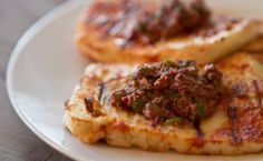 Grilled Haloumi w/ Olive Tapenade    *Love this cheese!  So wish I could get it in Texas!  Maybe someday?  Until then, I can enjoy it while I'm in the ME.  :)  ~SJ~