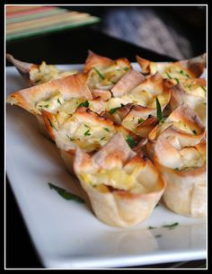 Hot Artichoke Dip Wontons--would add spinach for the extra boost.